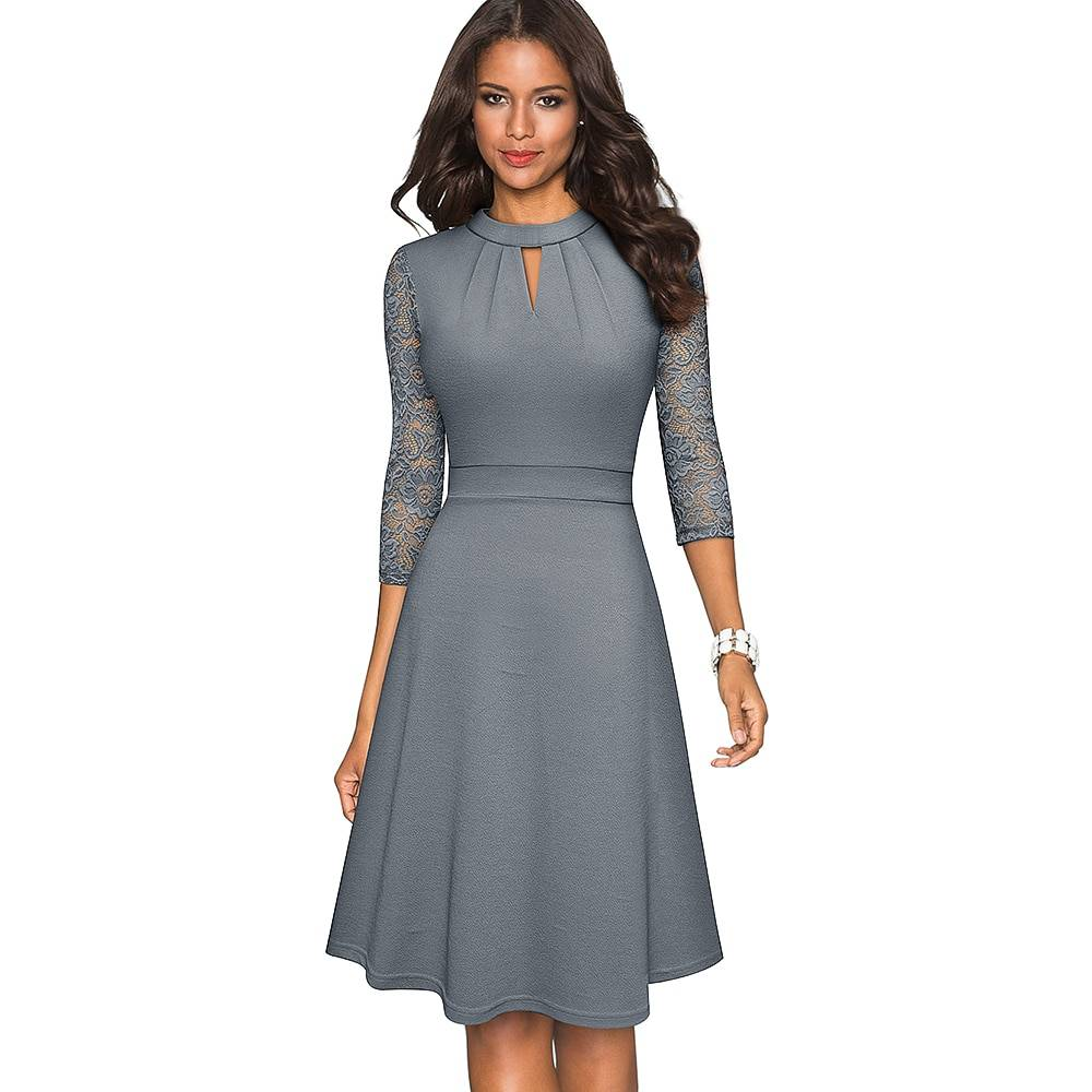 Solid Color Hollow Out Women's Dress with Lace Sleeves