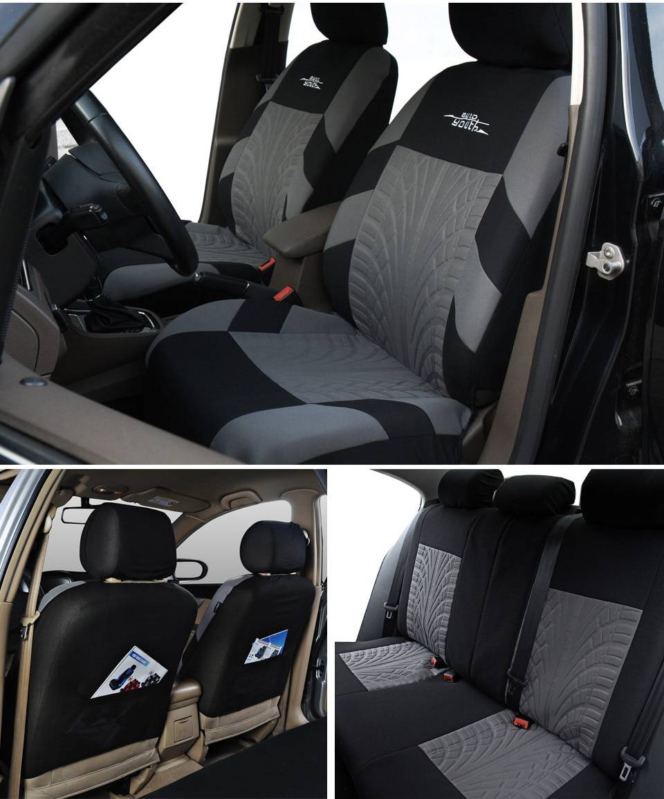 Universal Tire Track Patterned Car Seat Covers Set