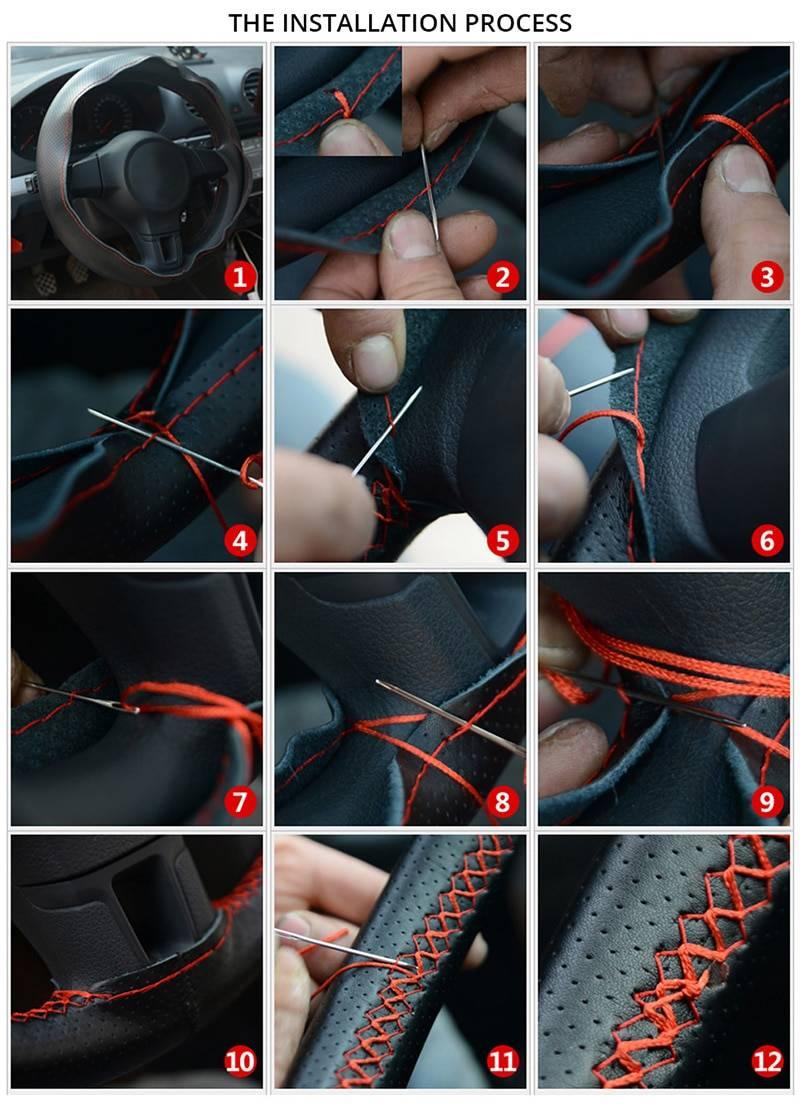 Microfiber Leather DIY Car Steering Wheel Cover