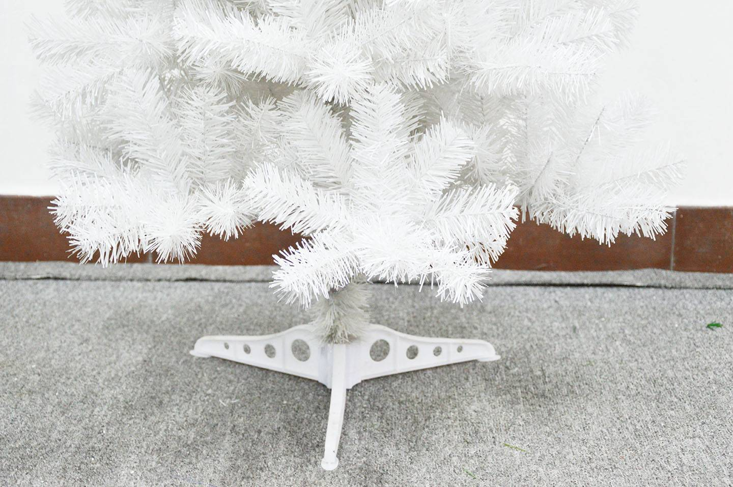 White Colored Artificial Christmas Tree With Plastic Stand