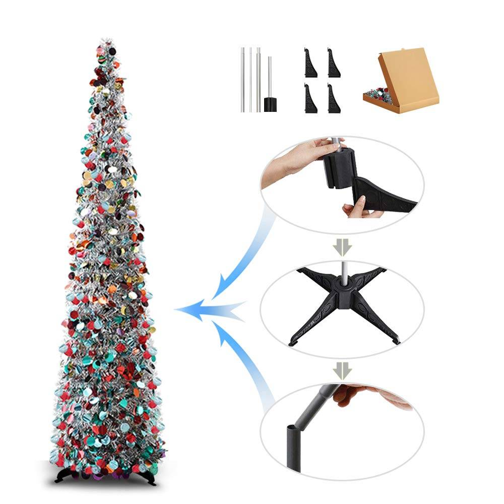Colorful Tall Pop-Up Christmas Tree