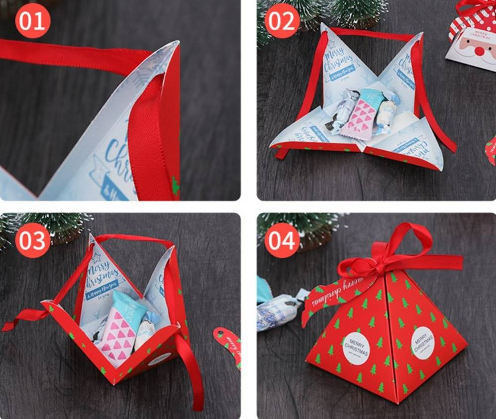 Triangle Shaped Christmas Gift Box 10 Pcs Set
