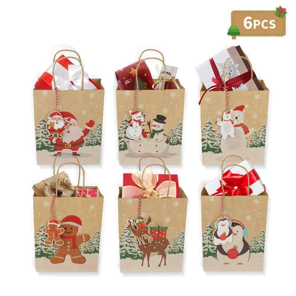 Kraft Paper Gift Bags for Christmas
