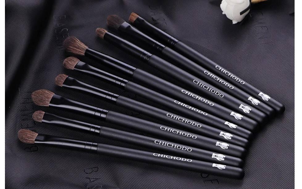 Natural Pony Hair Eye Makeup Brushes 9 Pcs Set
