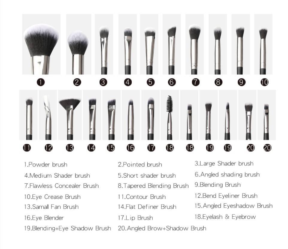 Makeup Brushes with Case 12/18/20 Pcs Set