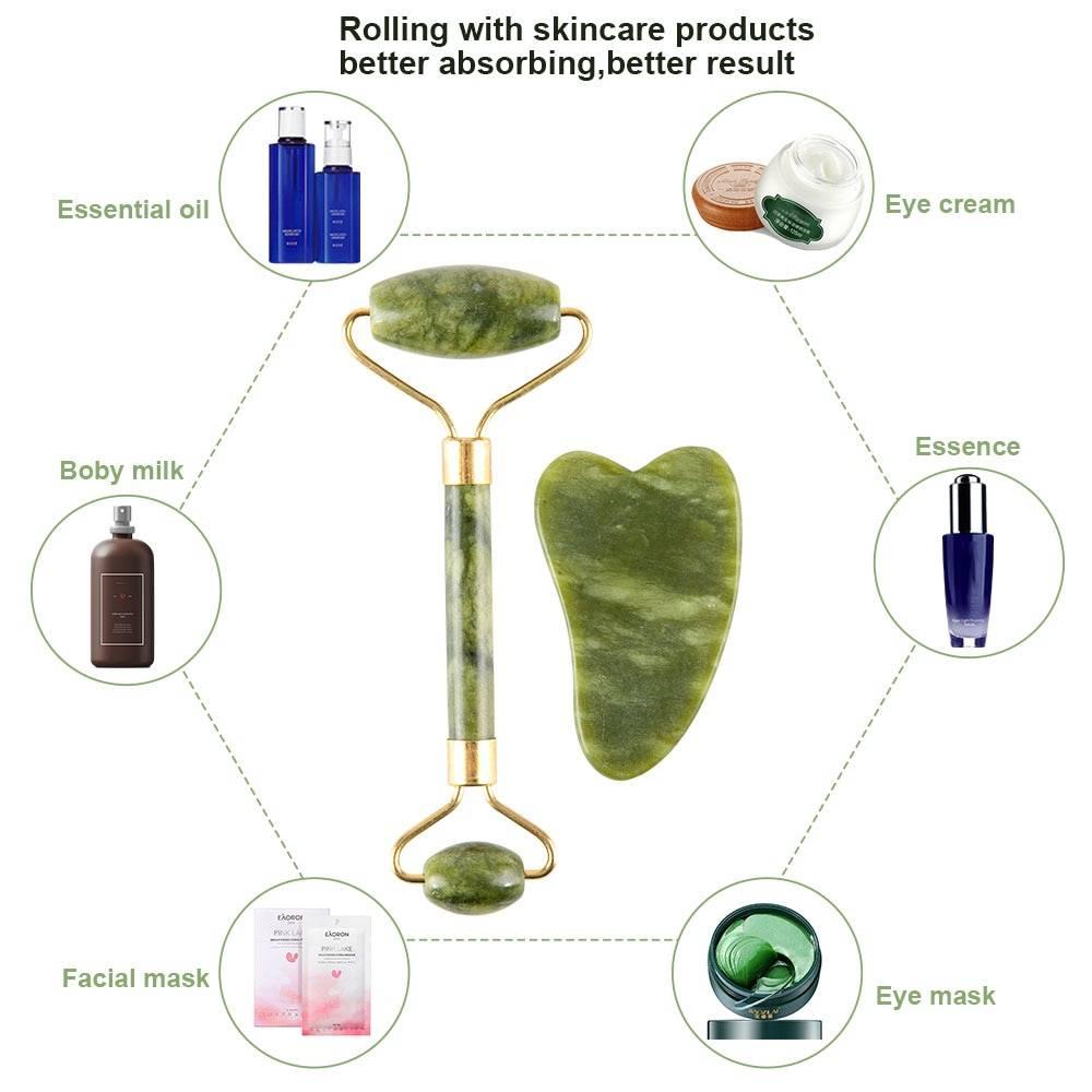 Natural Stone Massager Roller Set