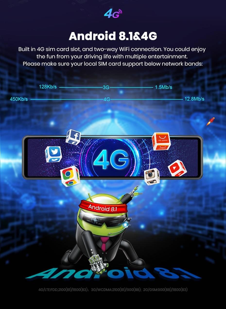 Mirror Design 12 inch 4G ADAS GPS Dashcam