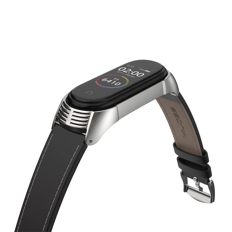 Solid Color Leather Band for Xiaomi Mi Band 3 and 4