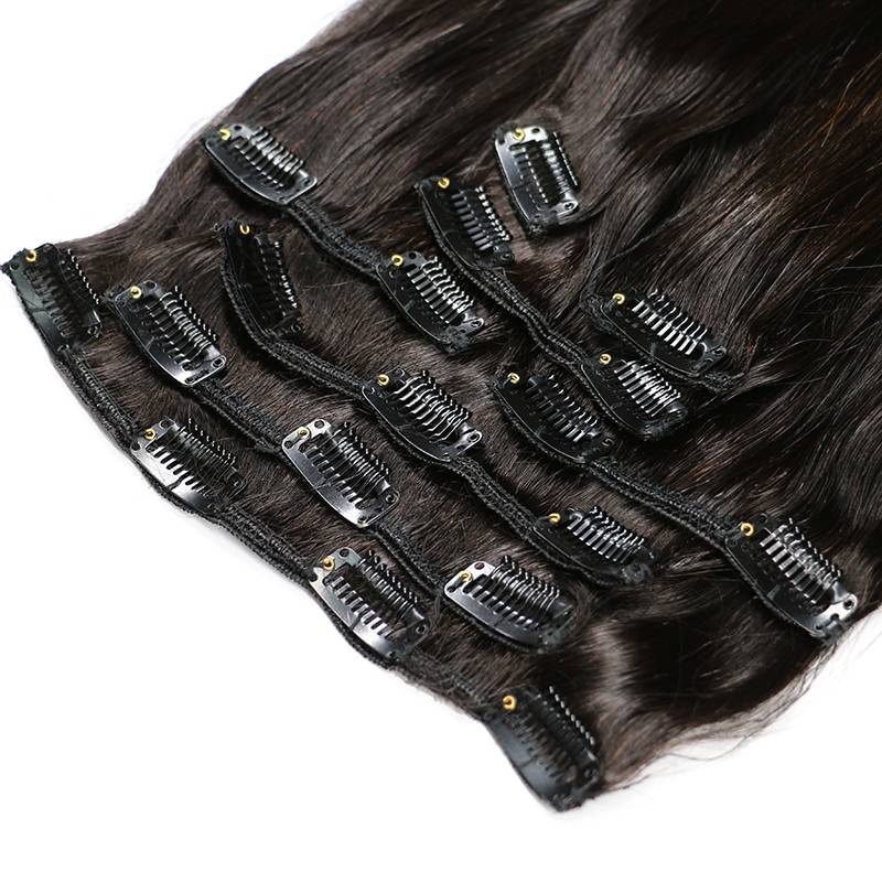 Black Straight Clip-In Brazilian Remy Human Hair Extensions Set