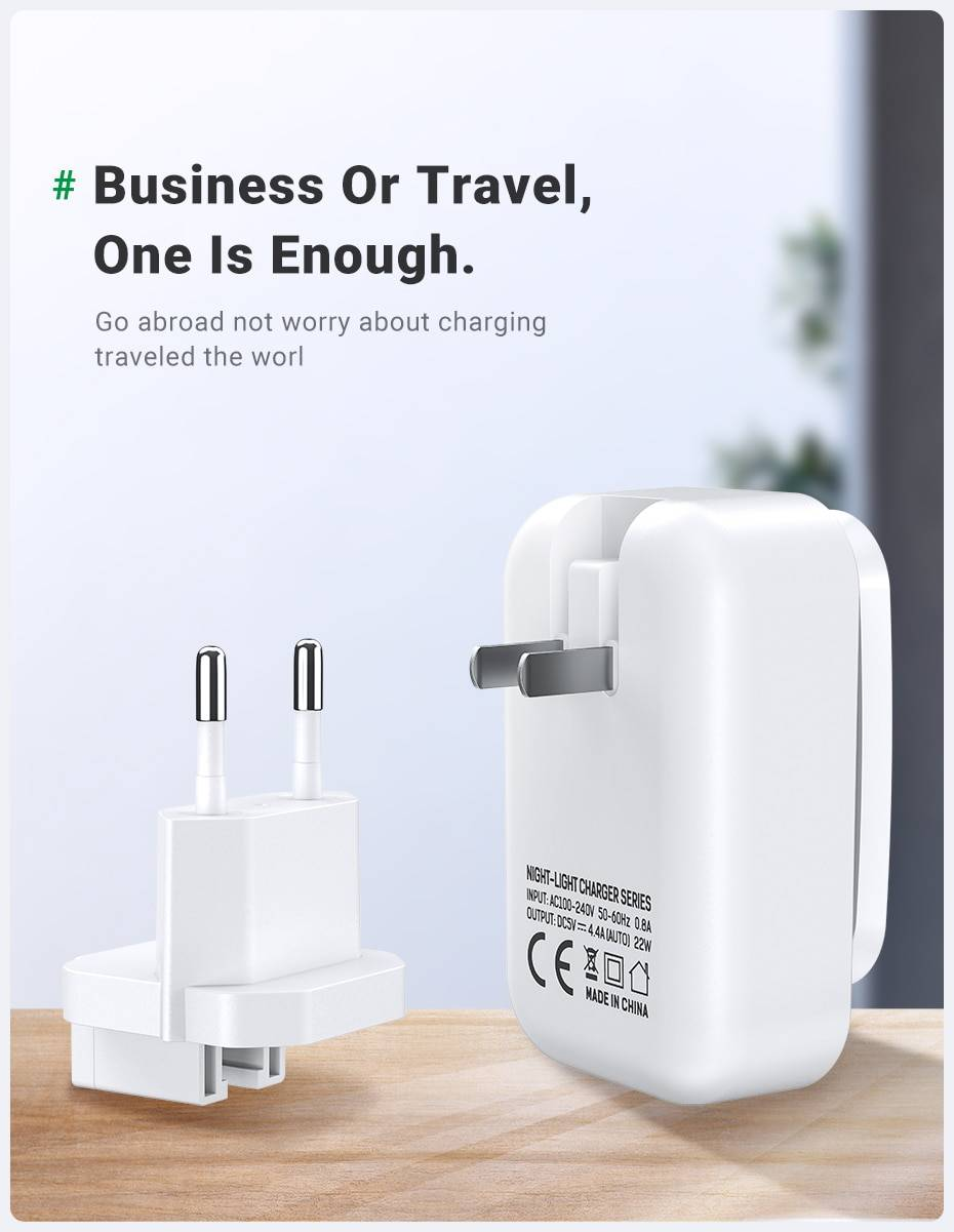 Universal Four-USB Charger with LED Light