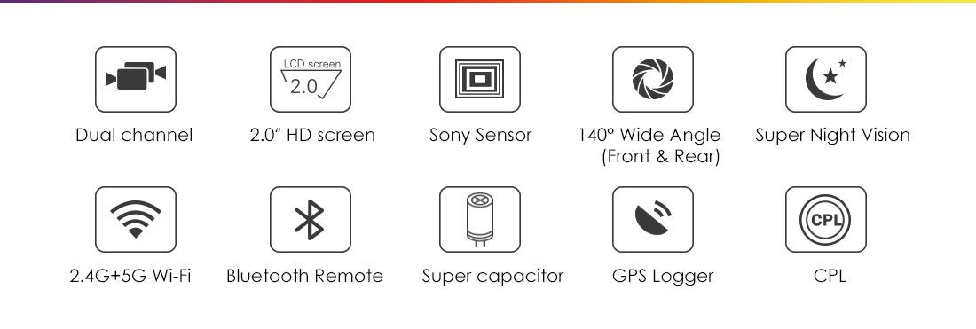 Dual Channel WiFi Full HD 1080P Dash Camera for Cars
