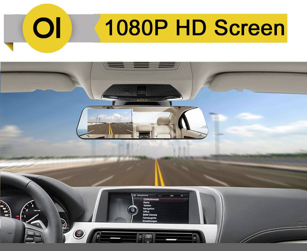 HD 1080P Dash Camera for Cars with Rear View