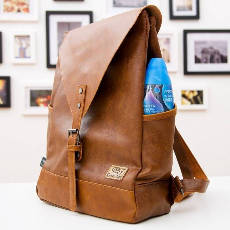 Men's Travel PU Leather Backpack