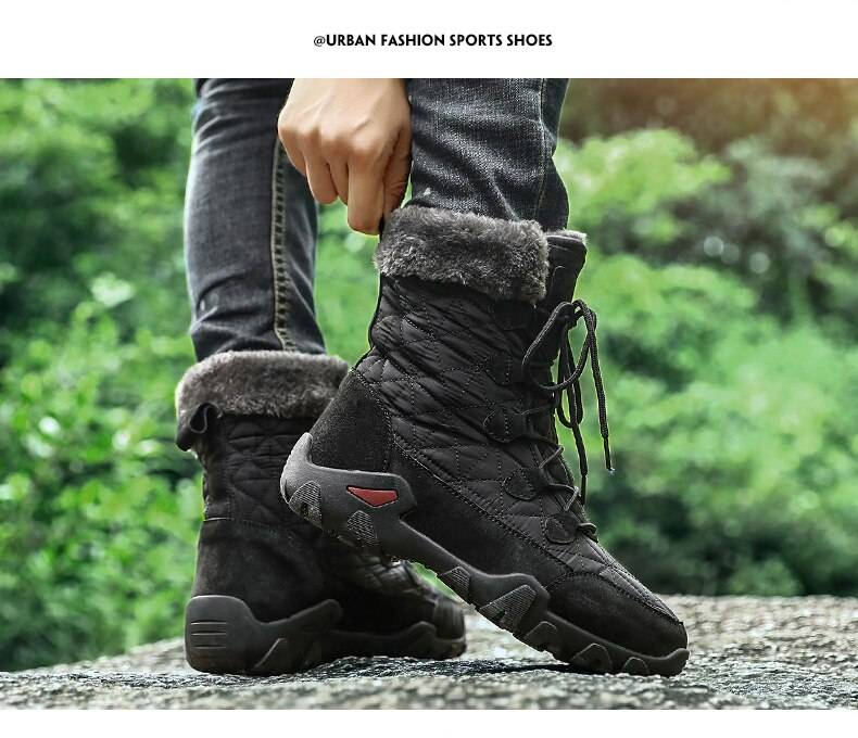 Men's Quilted Plush Winter Boots