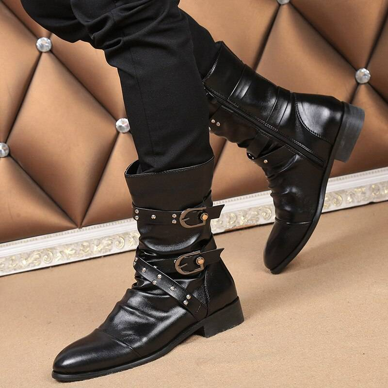 Men's Steampunk Mid-Calf Motorcycle Boots