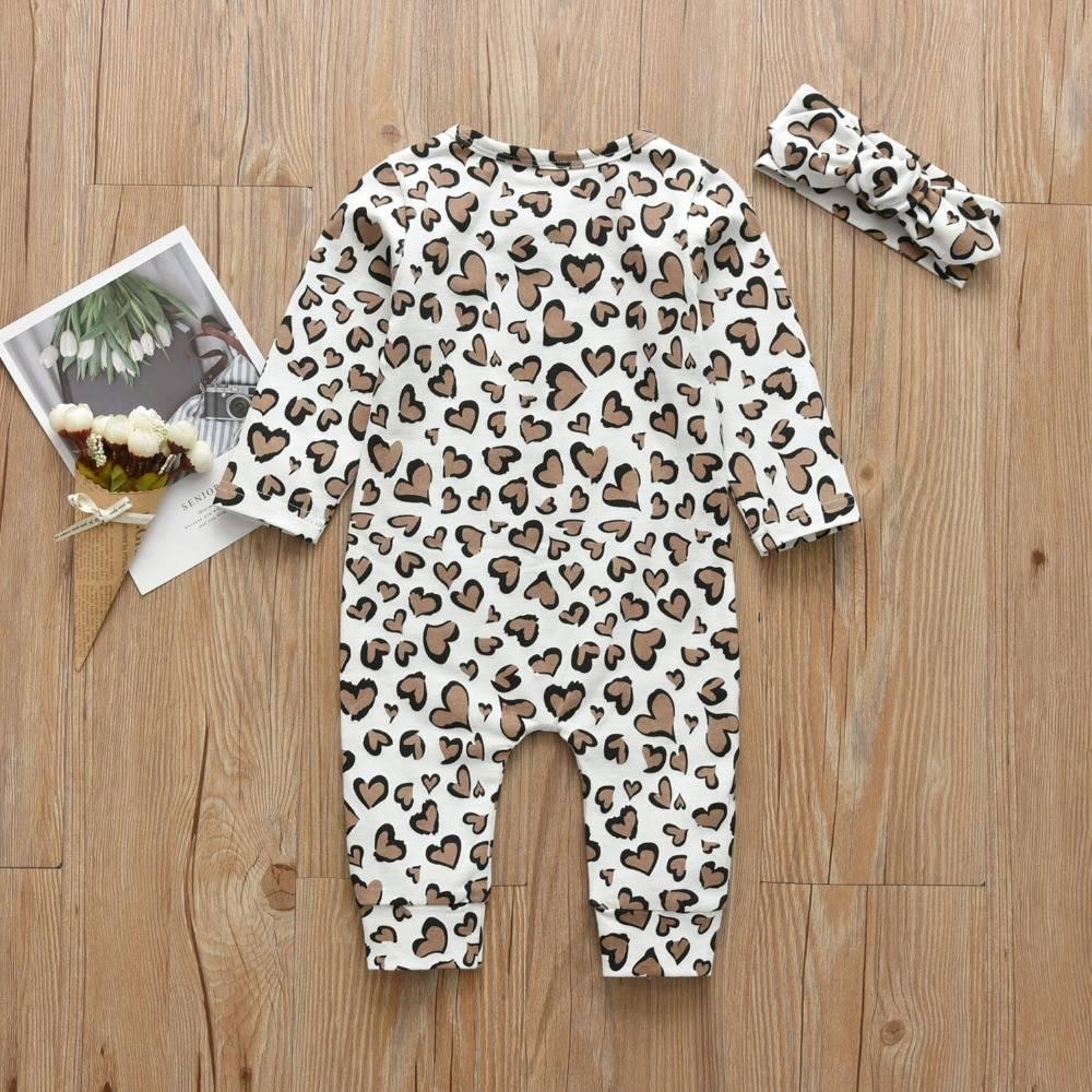 Baby Girl's Leopard Print Romper and Headband Set
