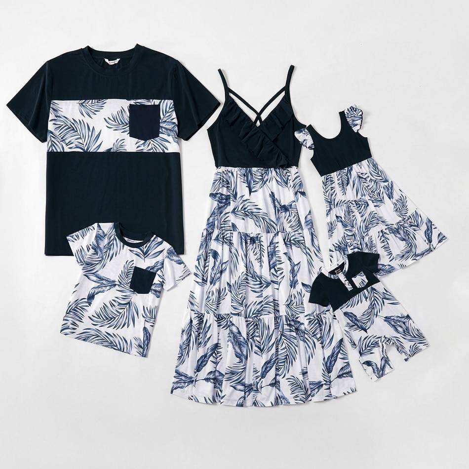 Blue and White Floral Matching Family Set