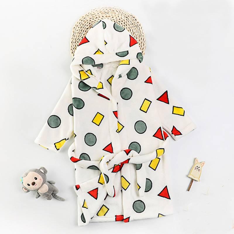Colorful Geometric Printed Cotton Bathrobe for Kids