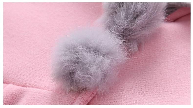 Girl's Bunny Ears Plush Pom Pom Coat