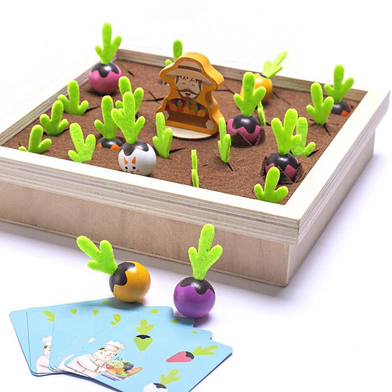 Pulling Carrots / Shape Matching Wooden Educational Toy for Babies