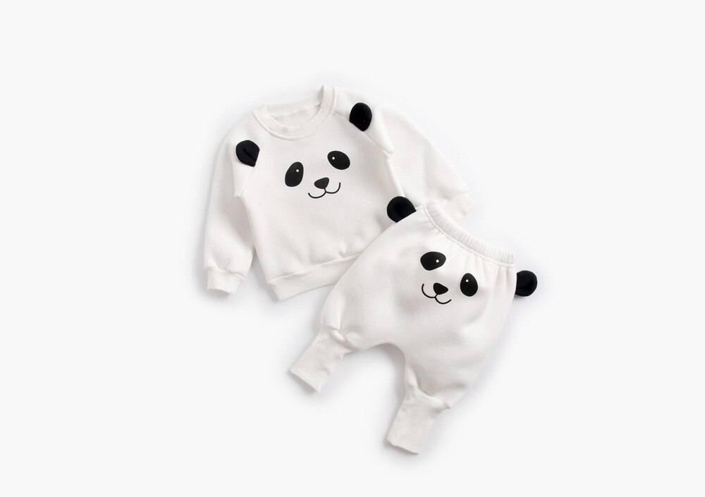 Winter Baby's Cartoon Animal Printed Sweatshirt with Pants Set